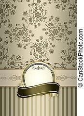 decoratief, floral, frame., achtergrond