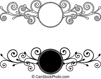 decoratief, floral, frames., vector, illustratie