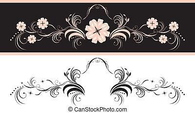 decoratief, floral onderdelen, twee