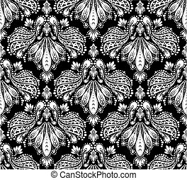 decoratief, floral, ornament, seamless