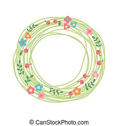 decoratief, floral, wreath., nest, van, keukenkruiden,...