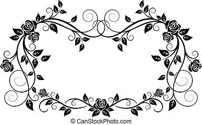 decoratief, frame, bloemen, roos