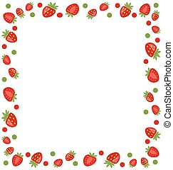 decoratief, frame, gemaakt, aardbei