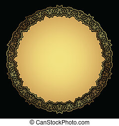 decoratief, frame, goud