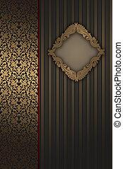 decoratief, frame., goud, ornament, elegant, achtergrond