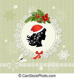 decoratief, frame, kerstmis, kerstman, retro