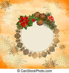 decoratief, frame, kerstmis, openwork