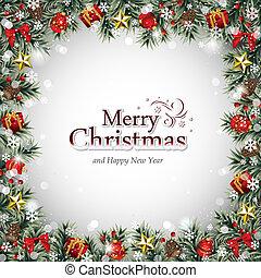 decoratief, frame, met, kerstballen