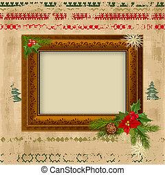decoratief, frame, ontwerp, kerstmis