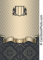 decoratief, frame., ouderwetse , achtergrond, zilver, lint