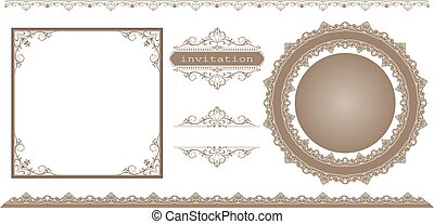decoratief, frame, set