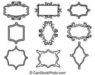 decoratief, frame, set, ouderwetse