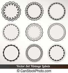 decoratief, frame, vector, set, ouderwetse