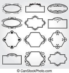 decoratief, frame, vector, set, ouderwetse
