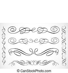 decoratief, frame, vector, versieringen