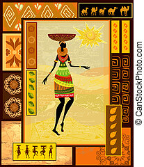 decoratief, geklede, meisje, afrikaan