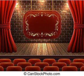 decoratief, gordijnen, vloer, muur, ouderwetse , signboard, ...