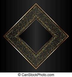 decoratief, goud, frame, metalen, zwarte achtergrond
