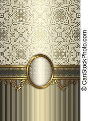 decoratief, goud, frame, patterns., elegant, achtergrond