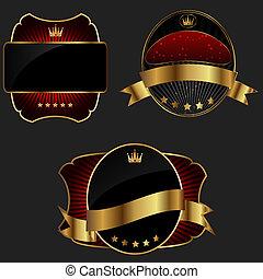 decoratief, gouden, donker, vector, achtergrond, sierlijk, lijstjes