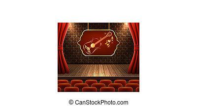 decoratief, gouden, gordijnen, muur, licht, signboard, scène, tegen, gitaar, floodlights, ouderwetse , baksteen, open