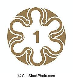 decoratief, gouden, kunst, motief, text., groet, illustratie, getal, template., ontwerpen basis, kaarten, plek, uitnodigingen, een, ontwerp, circulaire