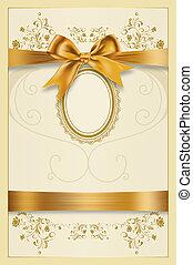 decoratief, gouden, ouderwetse , frame, bow., achtergrond, lint