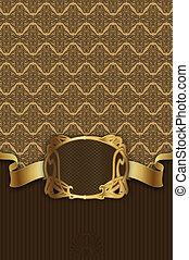 decoratief, gouden, ribbon., ouderwetse , frame, achtergrond