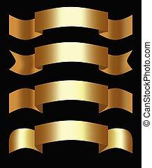decoratief, gouden, set, vier, gedaantes, elegant, linten, ribbons., ontwerp, 3d