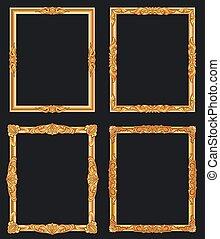 decoratief, gouden, vector, oud, goud, ouderwetse , frames., luxe, randjes, glanzend