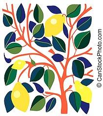 decoratief, grafisch, bladeren, -, ontwerp, citroenen, kaart