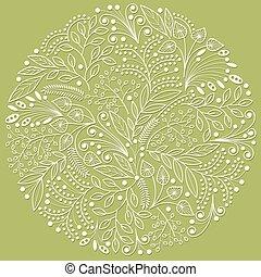 decoratief, groene achtergrond, floral, witte ,...