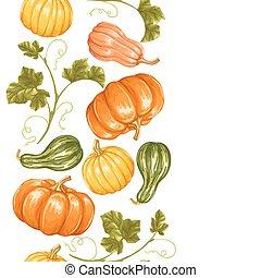 decoratief, groentes, ornament, seamless, pumpkins., grens, bladeren