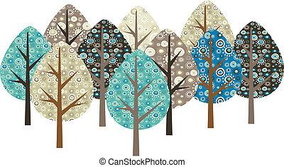 decoratief, grunge, bomen