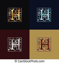 decoratief, h, brief, logo