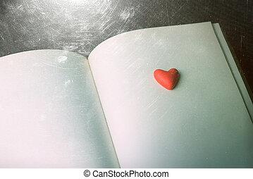 decoratief, hart, boek, open, rood