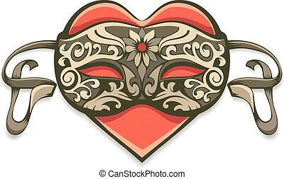 decoratief, hart, masker, rood, ouderwetse