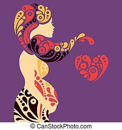 decoratief, hart, vrouw, silhouette, zwangere , abstract, bloemen, symbool