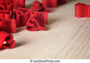 decoratief, hartjes, achtergrond, rood