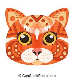 decoratief, hoofd, emblem., vector, kat, logo., rood
