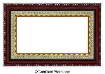 decoratief, houten, model, frame, vrijstaand, achtergrond., witte