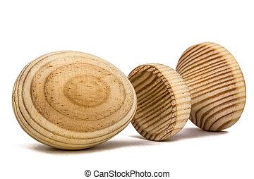 decoratief, houten, vrijstaand, ei, achtergrond, witte