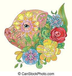 decoratief, illustratie, hand, stylized, vector, pig., zentangle, getrokken