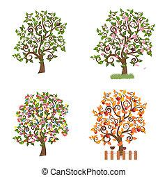 decoratief, jaargetijden, set, bomen