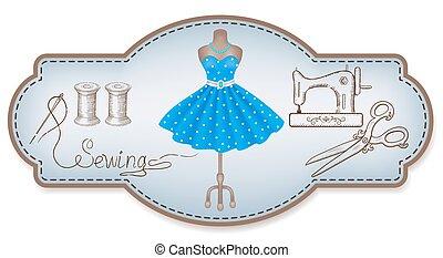 decoratief, jurkje, frame, naaiwerk, hand, workshop,...