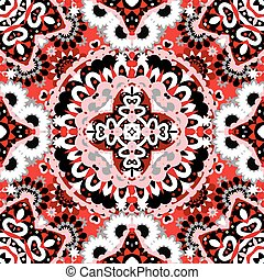 decoratief, kant, kleurrijke, grijs, model, seamless, model, achtergrond., black , luxe, achtergrond, floral, cirkel, ronde, rood