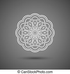 decoratief, kant, ornament, illustratie, dekservet, mandala, vector, papier, haken, sneeuwvlok, ronde