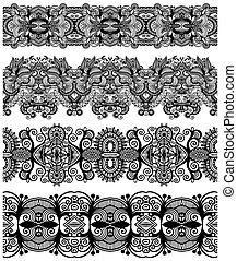 decoratief, kant, ornament, model, cirkel, black , verzameling, geometrisch, dekservet, witte , ronde