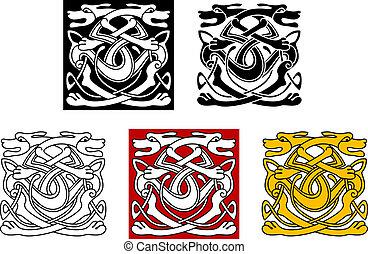 decoratief, keltisch, honden, stijl, model