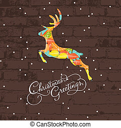 decoratief, kerstmis, hertje